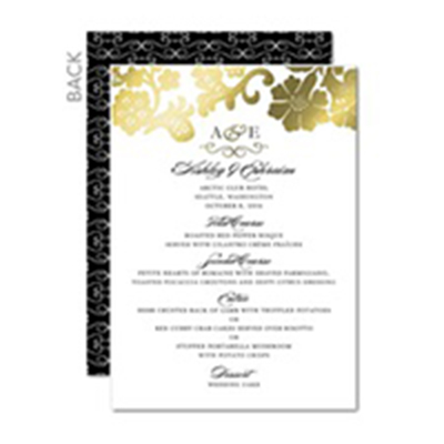 Two Sided Wedding Menu Cards