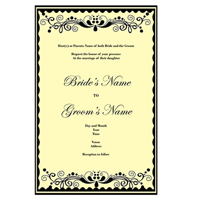 One Sided Wedding Invitations