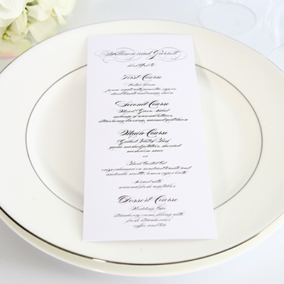 One Sided Wedding Menu Cards